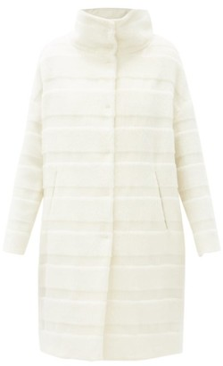 Herno Striped Single-breasted Alpaca-blend Coat - Ivory