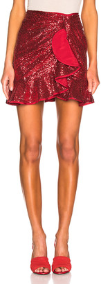 Self-Portrait for FWRD Sequin Ruffle Skirt in Red | FWRD