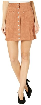 BB Dakota That 70s Faux Suede Button Front Skirt (Terracotta) Women's Skirt