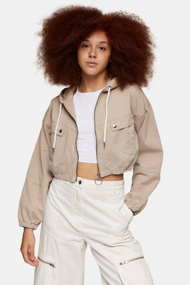 Topshop Womens Sand Hooded Cropped Shacket - Sand