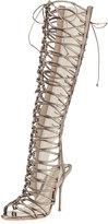 Sophia Webster Clementine Strappy To-the-Knee Gladiator Sandal Boot, Gunmetal