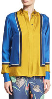 Diane von Furstenberg Colorblock Silk Satin Shirt, Blue/Yellow