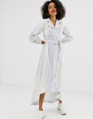 Asos blue stripe belted midi shirt dress