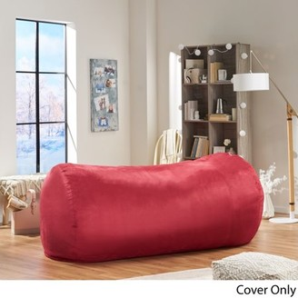 Noble House Rosalyn Traditional 8 Foot Suede Bean Bag (Cover Only), Red
