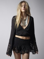 Winston White Lotus Bell Sleeve Crop Top in Black