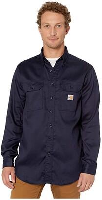 Carhartt Flame-Resistant (FR) LW Twill Shirt (Dark Navy 2) Men's Short Sleeve Button Up