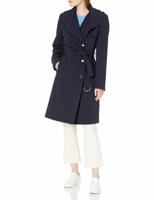 Calvin Klein Womens Belted Double Weave Trench