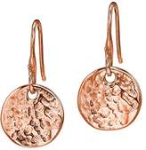 Dower & Hall Nomad Rose Gold Plated on Sterling Silver Beaten Flat Disc Drop Earrings of Length 2.5cm
