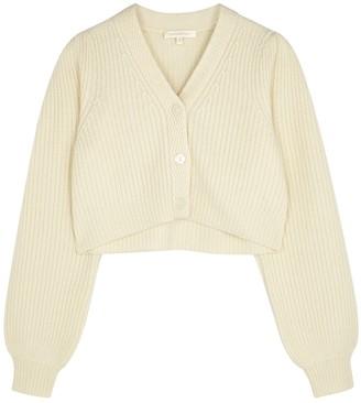 LoveShackFancy Avignon Cream Ribbed Wool-blend Cardigan