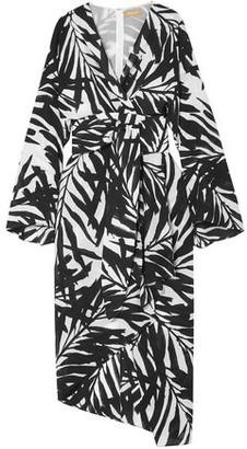 Michael Kors Asymmetric Printed Silk Crepe De Chine Dress