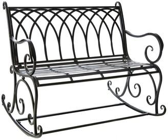 Evergreen Black Rocking Garden Bench - 43.3x36.6x32.6