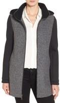 Halogen Hooded Wool Blend & Knit Jacket (Regular & Petite)