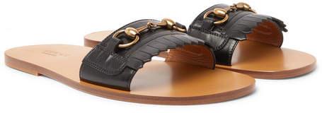 Gucci Varadero Horsebit Fringed Leather Sandals