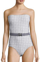 Michael Kors Patterned One-Piece Bandeau Swimsuit