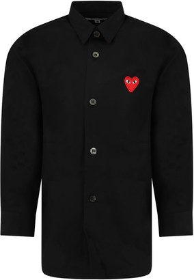 Comme des Garcons Black Shirt For Kids With Iconic Heart
