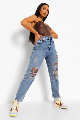 boohoo Bandana Patch Work Mum Jeans