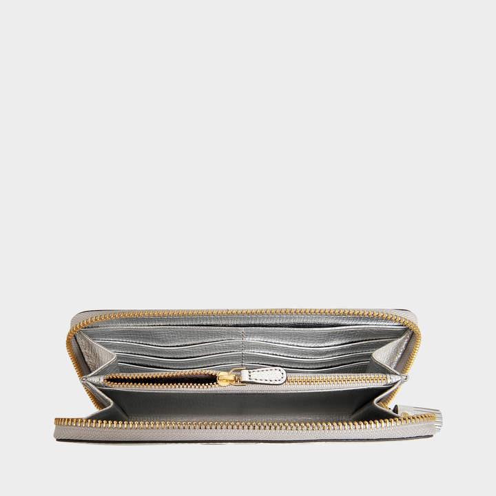 Anya Hindmarch Eyes Large Zip Round Wallet in Silver Metallic Capra Leather