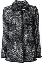 Giambattista Valli long tweed jacket - women - Viscose/Polyester/Polyamide/Leather - 42
