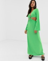 Asos Design DESIGN maxi dress with flared sleeves and ring detail