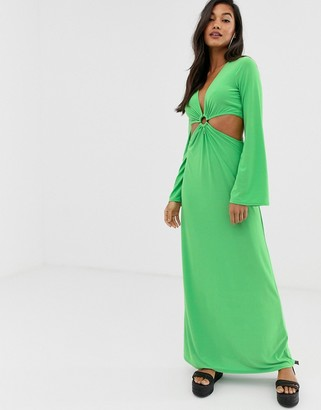 Asos Design DESIGN maxi dress with flared sleeves and ring detail-Green