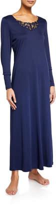 Hanro Najuma Lace-Yoke Long-Sleeve Nightgown