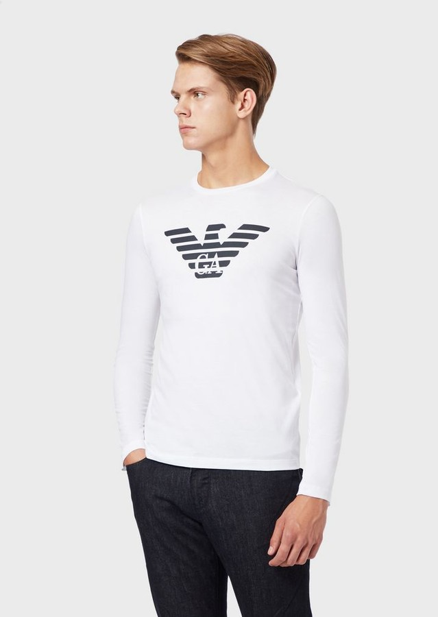 fd1327bfa4 Pima Cotton Jersey T-Shirt With Long Sleeves And Printed Logo