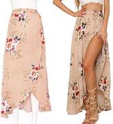 Sunroyal Bohemian Boho Floral Chiffon Split Maxi-skirt Backless High Waist