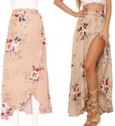 Women's Long Skirts,Sunroyal Summer Elegant Bohemian Boho Floral Chiffon Split