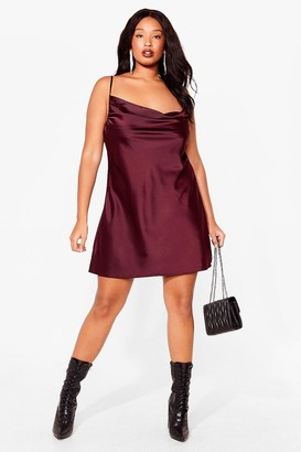 Nasty Gal Womens Sought After Plus Satin Cowl Dress - Chocolate