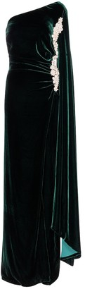 Costarellos Edwina one-shoulder velvet and silk gown