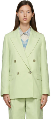 Acne Studios Green Wool Double-Breasted Suit Blazer