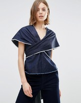 WÅVEN Sanna Wrap Around Denim Top
