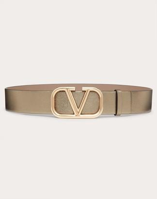 Valentino Vlogo Signature Belt In Metallic Lambskin Nappa 40mm Women Stone Lambskin 100% 80