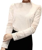 SODIAL(R) Fashion New Hot Women Long Hollow Splicing Shirt Lace Sleeve OL Tops Round Collar Blouse M