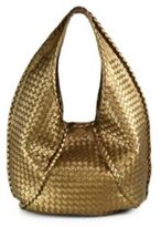 Bottega Veneta Metallic Woven Leather Hobo Bag