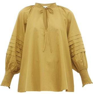 Rhode Resort Sage Balloon-sleeve Cotton Blouse - Khaki
