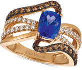 LeVian Le Vian Chocolatier® Tanzanite (1-1/10 ct. t.w.) and Diamond (7/8 ct. t.w.) Statement Ring in 14k Rose Gold