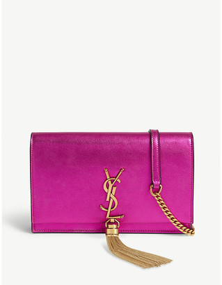 Saint Laurent Kate metallic leather wallet on chain