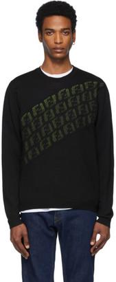 Fendi Black and Green Wool Forever Asymmetric Logo Sweater
