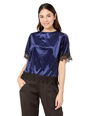 Three Dots Women's VM1558 Stretch Panne Velvet S/S T-Shirt