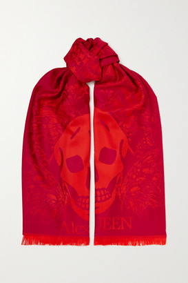 Alexander McQueen Fringed Wool-jacquard Scarf - Burgundy