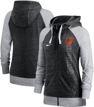 Nike Women's Black Baltimore Orioles In Pocket Gym Vintage Full-Zip Hoodie