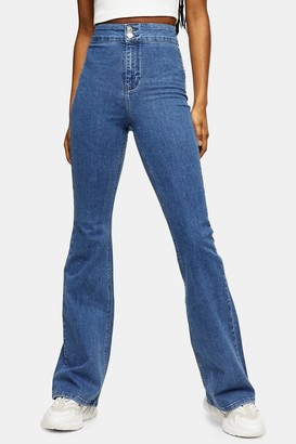 Topshop Womens Considered Three Stretch Flare Jeans - Mid Stone