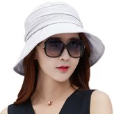 Siggi Womens UPF50+ Summer Sunhat Bucket Breathable Foldable Wide Brim Hats w/ Chin Cord Gray