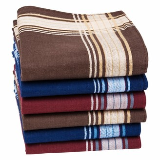 Houlife Mens Handkerchiefs 100% Cotton 60S Classic Stripe Checkered Pattern Coloured Plaid Hankies for Dad Grandad Father's Day Gift 6/12 Pieces 40x40cm