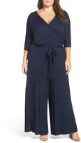 Loveappella Plus Size Women's Surplice Neckline Jersey Jumpsuit