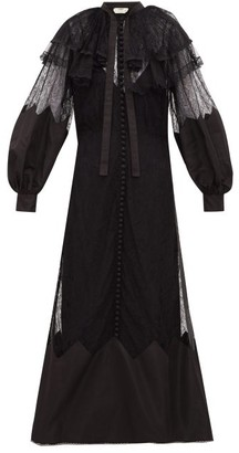Fendi Ruffled Lace And Taffeta Midi Dress - Womens - Black
