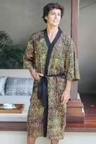 Men's Cotton Robe in Hand Stamped Batik, 'Java Gold'