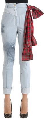Ronald Van Der Kemp Paint Splattered Bleached Denim Jeans