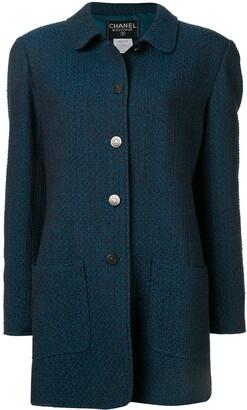 Chanel Pre Owned Slim Tweed Coat